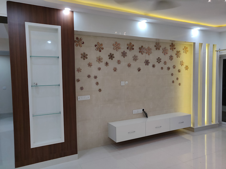 MR GIRISH'S FLAT (3 BHK Flat NOIDA) Modern living room by Design Kreations Modern
