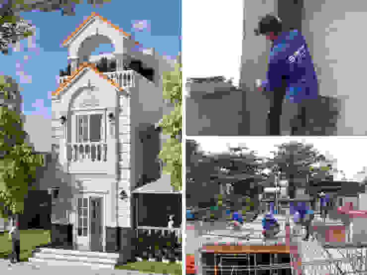 Xây nhà 3 tầng cổ điển với giá hoàn thiện 1,2 tỷ Asian style houses by Công ty Thiết Kế Xây Dựng Song Phát Asian