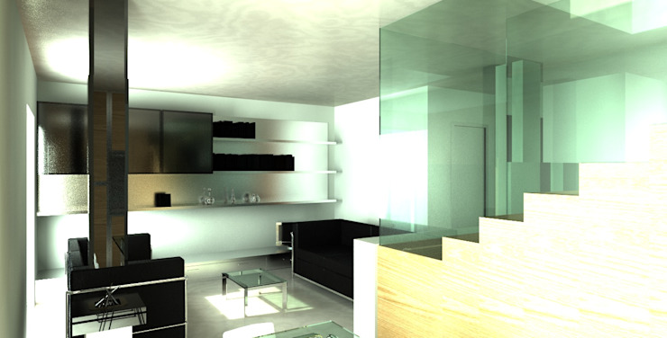 Trap als opvallend element van de woonkamer MEF Architect Moderne woonkamers Glas Hout