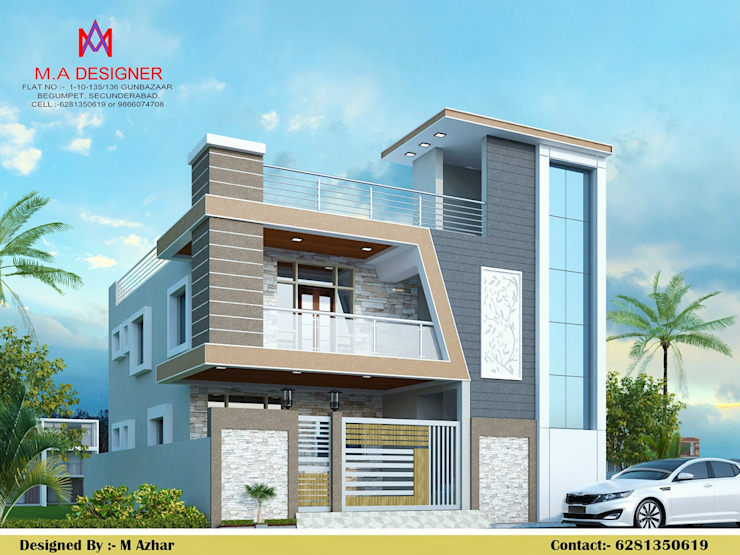 Exteriors and Architectural Asian style houses by M.A Constructions Asian