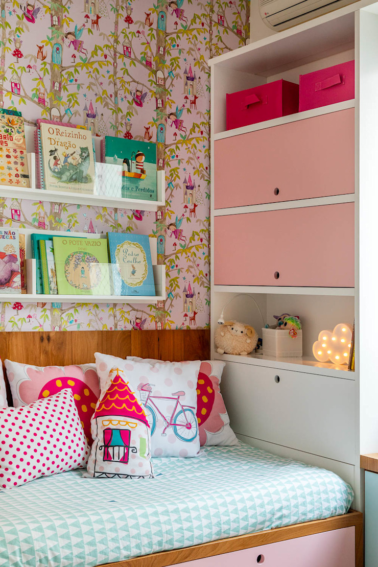 Raquel Junqueira Arquitetura Chambre d'enfant moderne Bois Rose