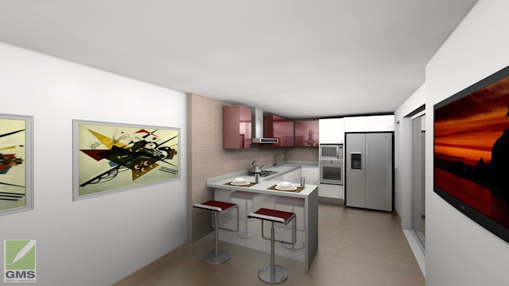 現代廚房設計點子、靈感&圖片 根據 Erick Becerra Arquitecto 現代風