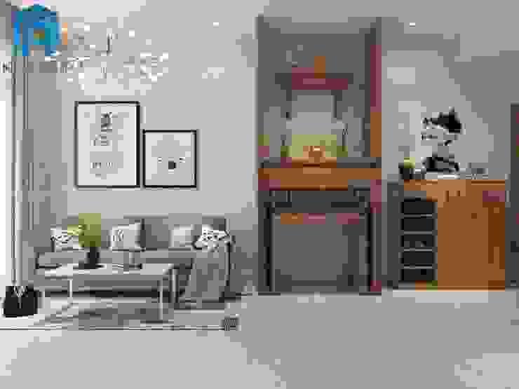 Tổng Thể không gian phòng khách Phòng khách phong cách châu Á bởi Công ty TNHH Nội Thất Mạnh Hệ Châu Á