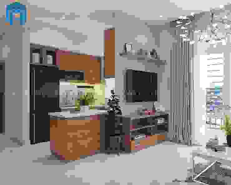 Không gian bếp nhìn từ phòng khách Phòng khách phong cách châu Á bởi Công ty TNHH Nội Thất Mạnh Hệ Châu Á