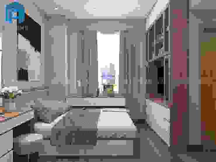 Thiết Kế Nội Thất Phòng Ngủ Chung Cư Phòng ngủ phong cách châu Á bởi Công ty TNHH Nội Thất Mạnh Hệ Châu Á