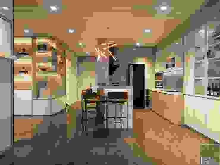THIẾT KẾ NỘI THẤT CĂN HỘ VINHOMES GOLDEN RIVER - Tách Capuchino ấm áp Nhà bếp phong cách hiện đại bởi ICON INTERIOR Hiện đại