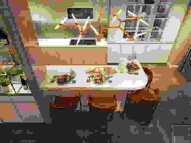 THIẾT KẾ NỘI THẤT CĂN HỘ VINHOMES GOLDEN RIVER – Tách Capuchino ấm áp Phòng ăn phong cách hiện đại bởi ICON INTERIOR Hiện đại