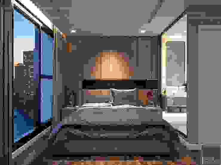 THIẾT KẾ NỘI THẤT CĂN HỘ VINHOMES GOLDEN RIVER – Tách Capuchino ấm áp Phòng ngủ phong cách hiện đại bởi ICON INTERIOR Hiện đại