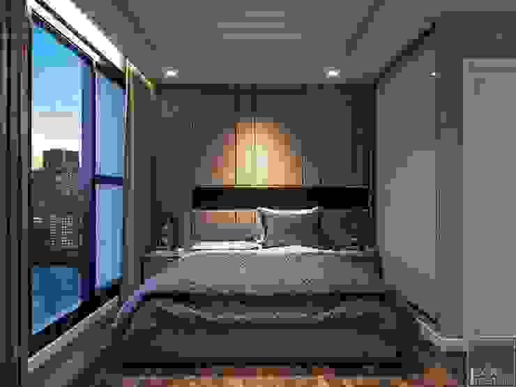 THIẾT KẾ NỘI THẤT CĂN HỘ VINHOMES GOLDEN RIVER - Tách Capuchino ấm áp Phòng ngủ phong cách hiện đại bởi ICON INTERIOR Hiện đại
