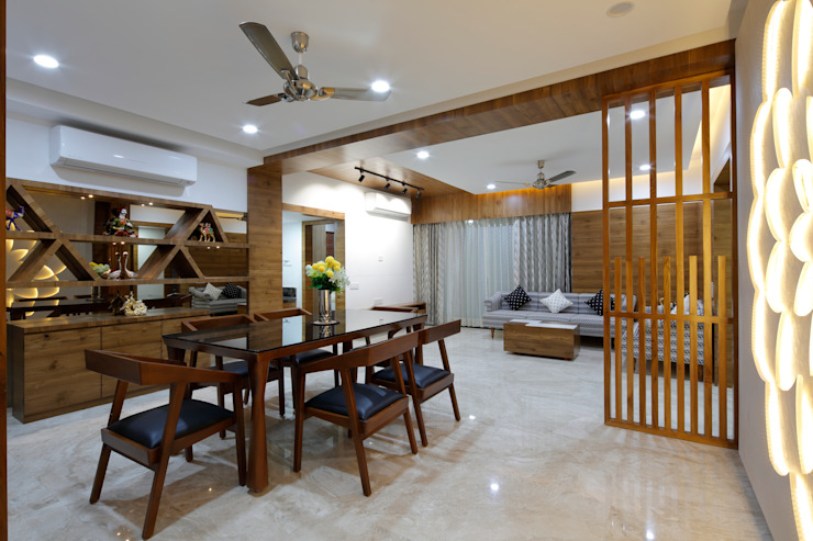 Dining and Living Room Modern Dining Room by malvigajjar Modern Wood Wood effect
