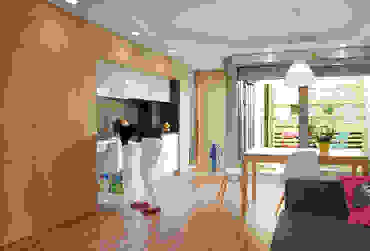 Cocina lineal integrada de Loft 26 Moderno Madera Acabado en madera