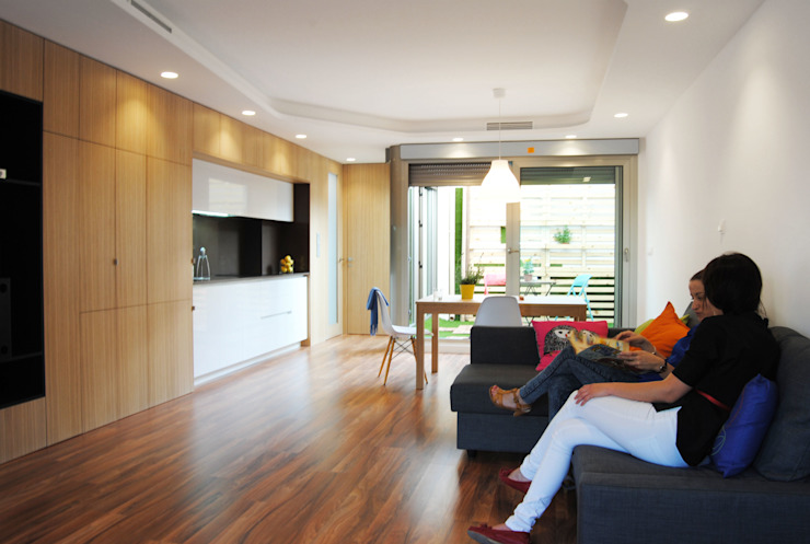 Vivienda para un músico Livings de estilo moderno de Loft 26 Moderno Madera Acabado en madera