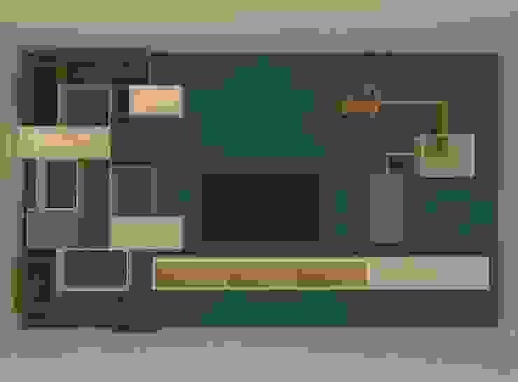 Parete attrezzata di Michela Munns Design Minimalista Legno Effetto legno