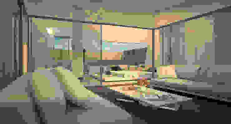 Diseño del proyecto de una vivienda moderna: Santa María 23 Salones de estilo moderno de AVANTUM Moderno