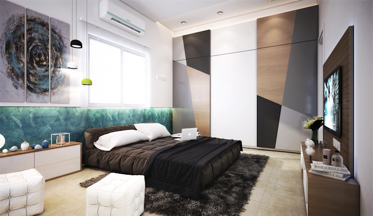 m.bed-1 Modern Bedroom by homify Modern