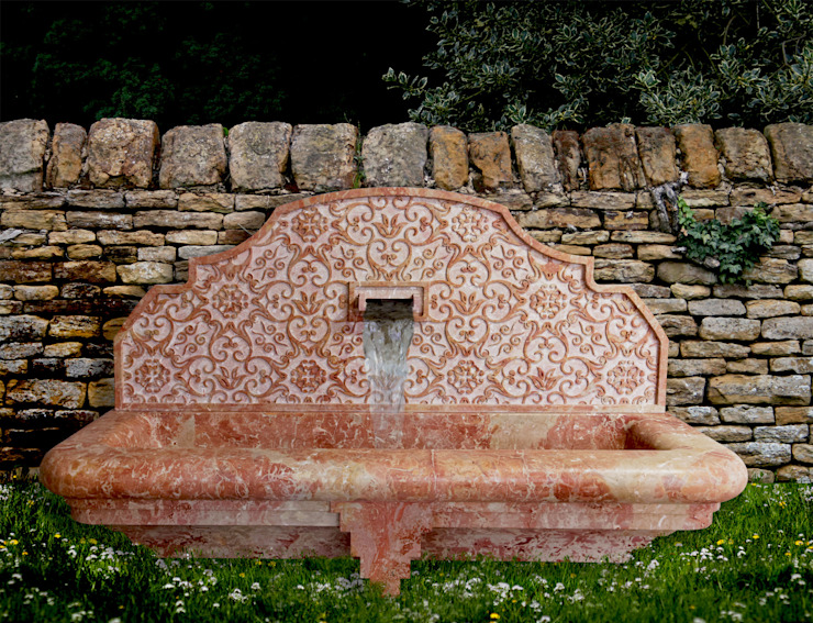 Fountains in stone and marble Mediterranean style gardens by CusenzaMarmi Mediterranean Stone