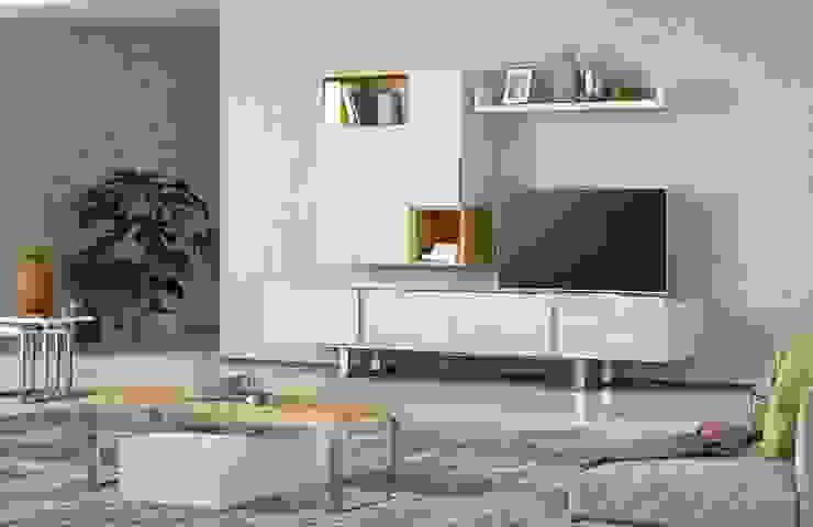 A fusão de materiais... Salas de estar modernas por Casactiva Interiores Moderno MDF