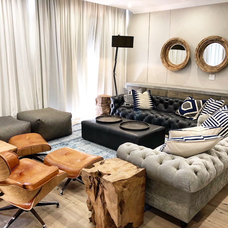 Entertainment area Eclectic style living room by Lean van der Merwe Interiors Eclectic