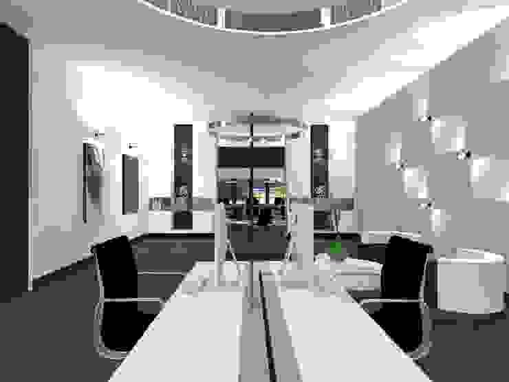 Bureau met kabelgoot Moderne kantoor- & winkelruimten van VAN VEEN INTERIOR DESIGN Modern Hout Hout