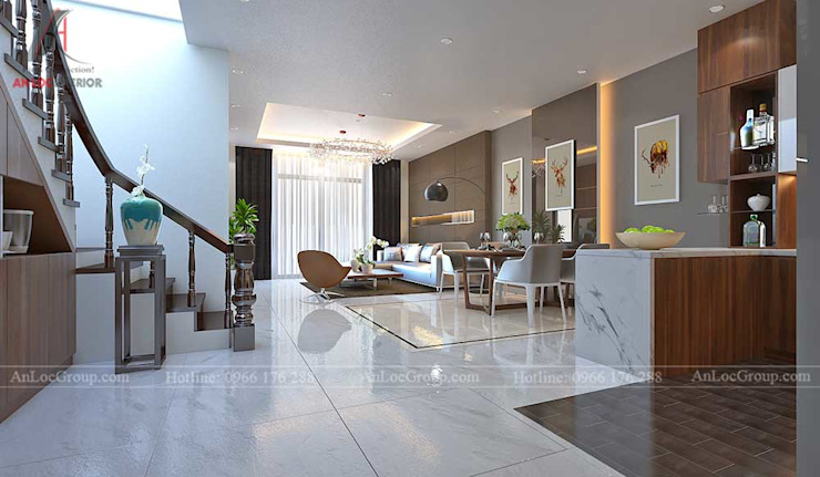 Modern Corridor, Hallway and Staircase by Nội Thất An Lộc Modern
