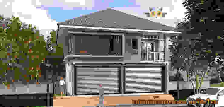 ด้านหน้าบ้าน: ผสมผสาน  โดย แบบบ้านออกแบบบ้านเชียงใหม่, ผสมผสาน