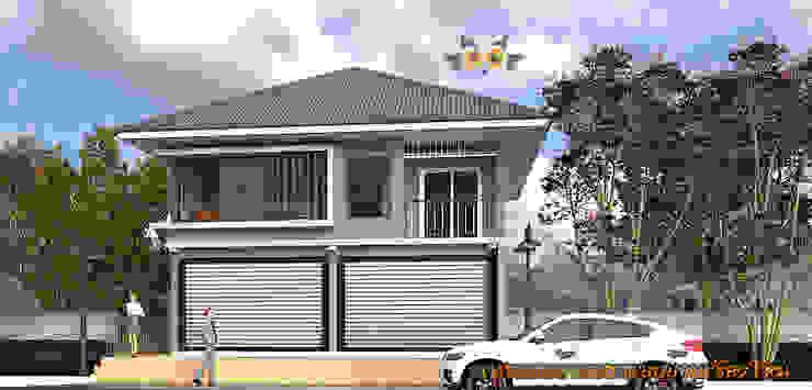 ด้านหน้า: ผสมผสาน  โดย แบบบ้านออกแบบบ้านเชียงใหม่, ผสมผสาน
