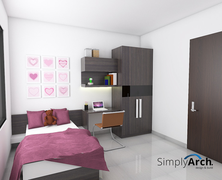 A-House Children Bedroom Wardrobe and Studying Table:modern  oleh Simply Arch., Modern