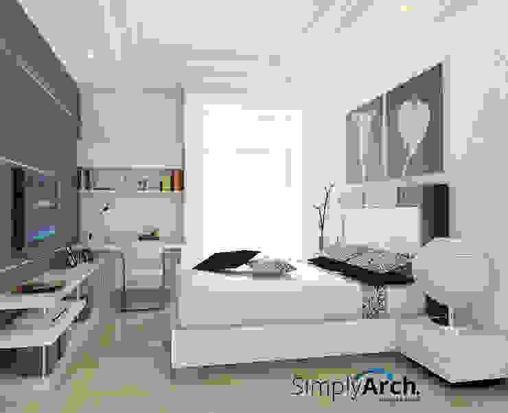 Bedroom at Pantai Indah Kapuk, North Jakarta Simply Arch. Kamar Tidur Minimalis White