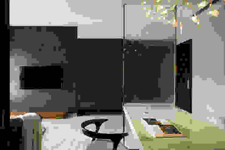 靜謐 现代客厅設計點子、靈感 & 圖片 根據 京彩室內設計裝修工程公司 現代風