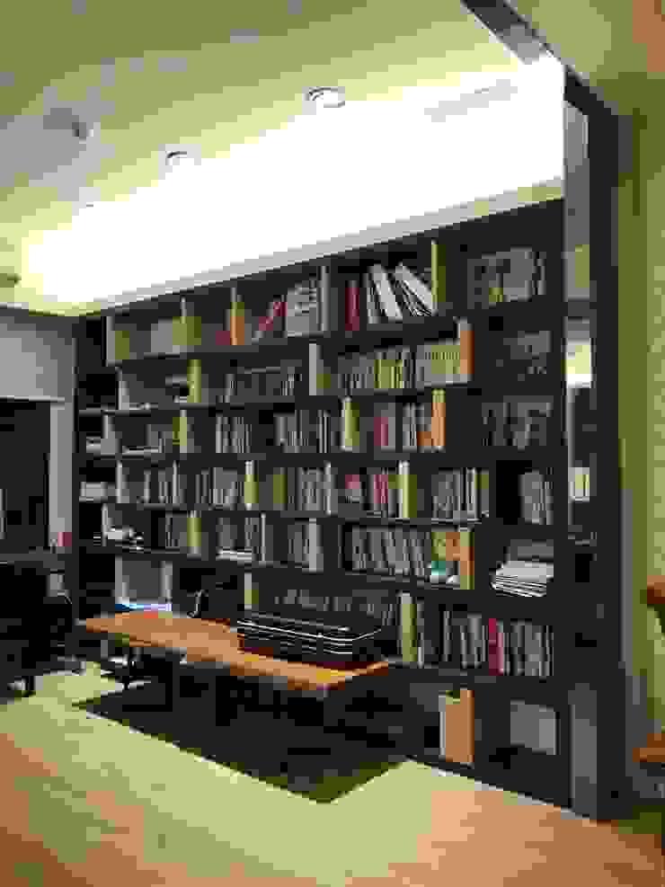 開放空間的書房 根據 圓方空間設計 日式風、東方風 合板