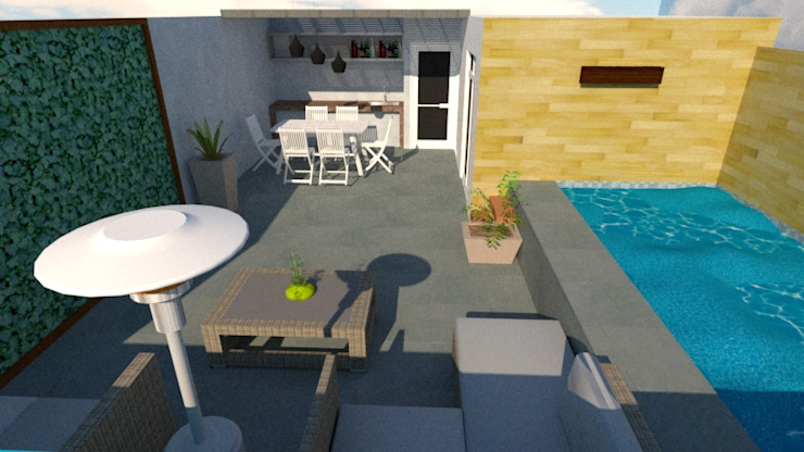 Diseño de Terraza Balcones y terrazas modernos de Diseño & Estilo Moderno