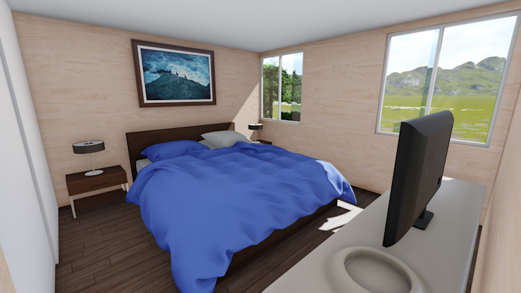 imagen 3d interior Dormitorios de estilo moderno de Ekeko arquitectura - Coquimbo Moderno