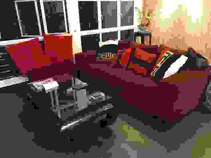 European fabric Sofa: modern  by Window Essentials,Modern Textile Amber/Gold