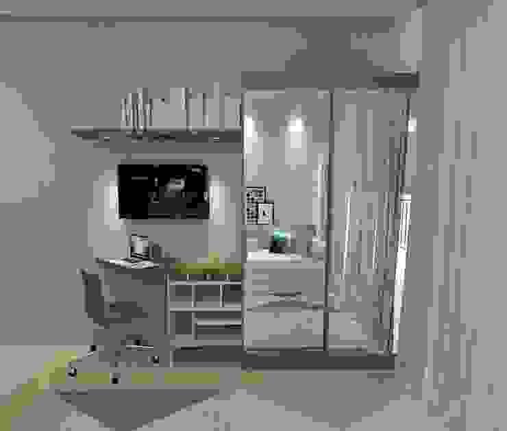 Apartamento Estudantil de 16m² Fareed Arquitetos Associados Quartos minimalistas