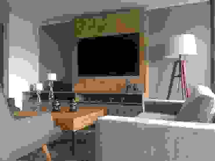 Acabado Salas modernas de LABEL Estudio Creativo Moderno Aglomerado