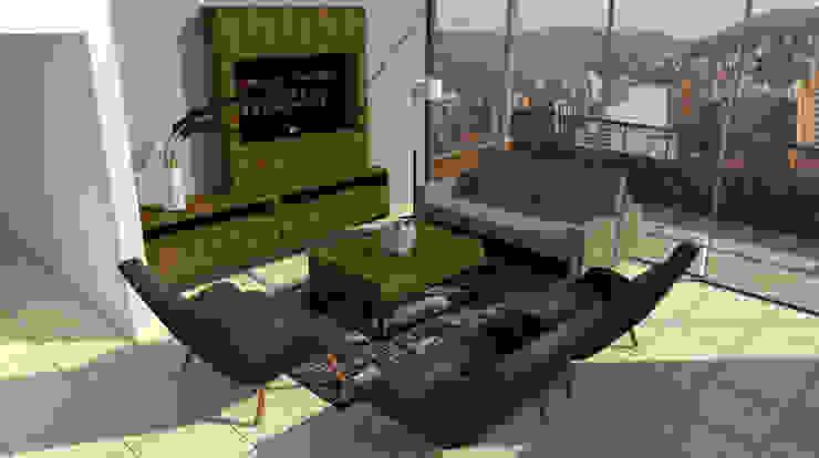 Modelo Propuesto Salas modernas de LABEL Estudio Creativo Moderno Aglomerado