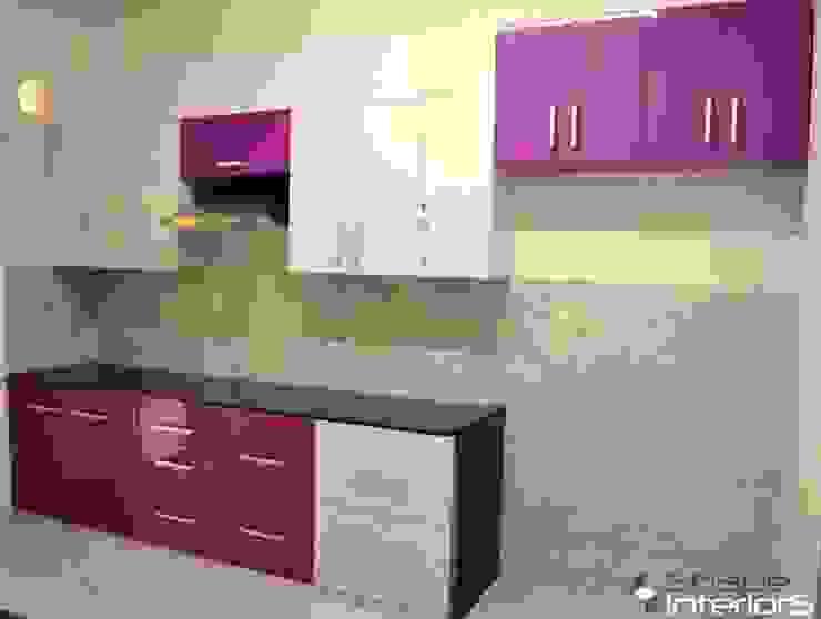 Modular Kitchen Shape Interiors Kitchen units Engineered Wood Purple/Violet