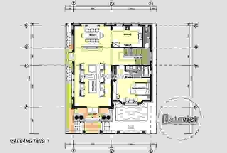 Mặt bằng tầng 1 mẫu biệt thự lâu đài kiểu Pháp đẹp lung linh (CĐT: Bà Huyền - Thái Nguyên) KT18077 bởi Công Ty CP Kiến Trúc và Xây Dựng Betaviet