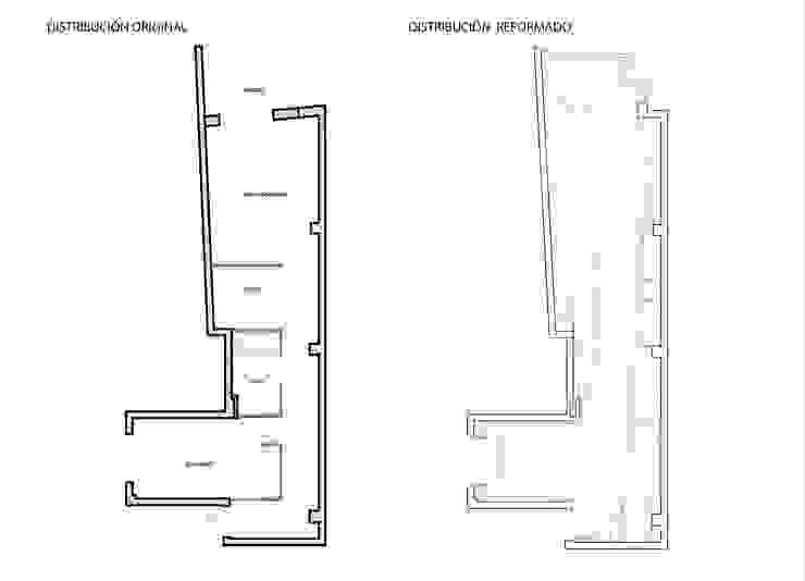 Distribución antes y después de la reforma de Loft 26 Minimalista