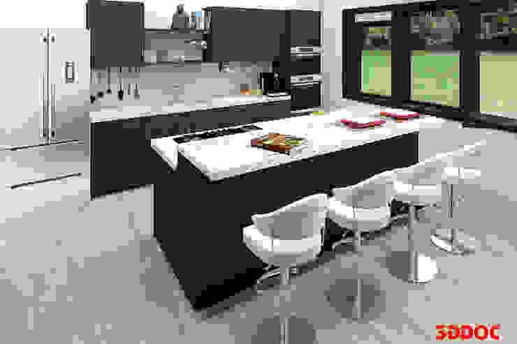 Keuken in donkere uitvoering. 3DDOC Moderne keukens