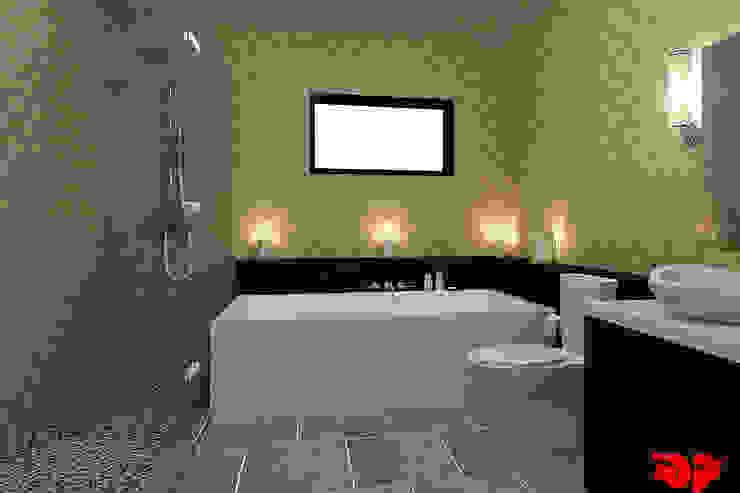 Moderne badkamer, zicht op het bad. Moderne badkamers van 3DDOC Modern