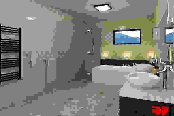 Moderne badkamer, zicht op douche. Moderne badkamers van 3DDOC Modern