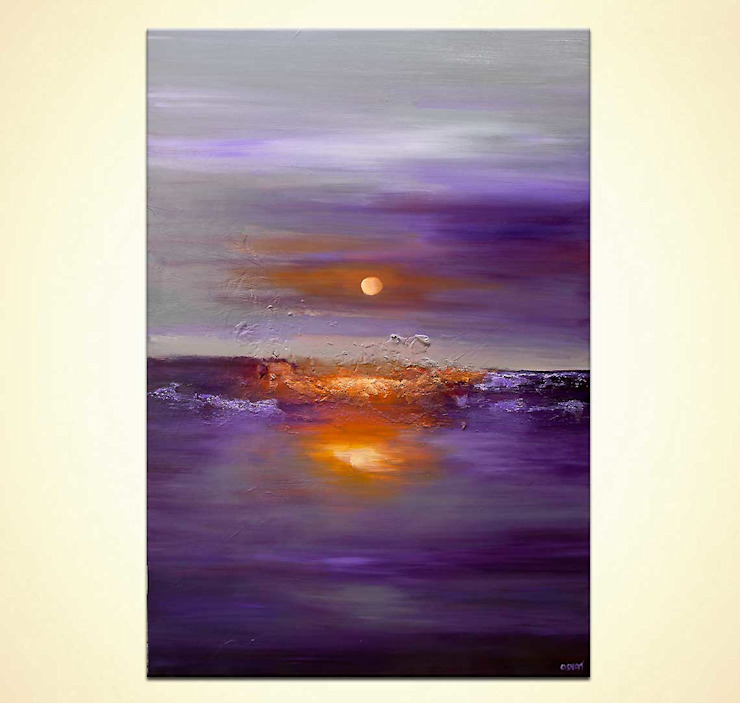 """Purple Sunset"" - large original abstract art on canvas by Osnat Tzadok: modern  by OSNAT FINE ART, Modern"
