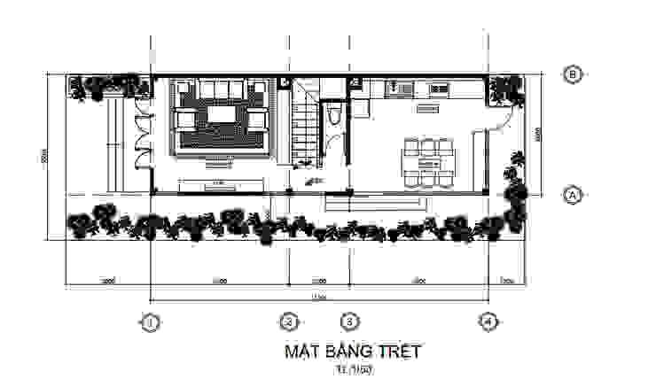 Bố trí mặt bằng tầng trệt Công ty Thiết Kế Xây Dựng Song Phát Tòa nhà văn phòng