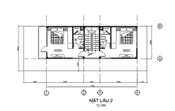 Bố trí mặt bằng lầu 2 Công ty Thiết Kế Xây Dựng Song Phát Tòa nhà văn phòng