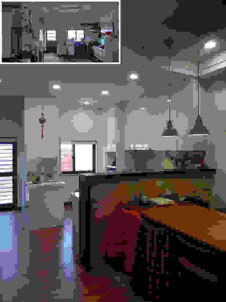 玄餐/廚房/歐式系統家具/日式人文/老屋翻新 根據 木博士團隊/動念室內設計制作 隨意取材風