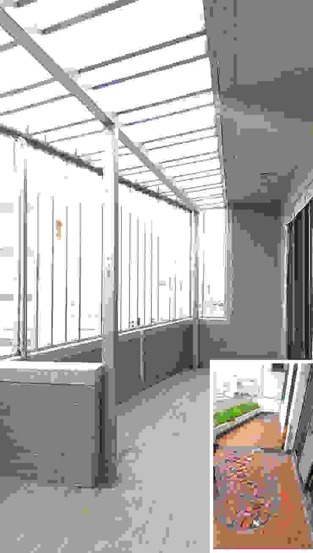 露台/陽台/鐵件/日式人文/老屋翻新 根據 木博士團隊/動念室內設計制作 隨意取材風