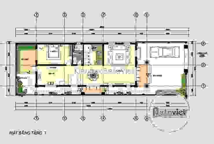 Mặt bằng tầng 1 mẫu biệt thự phố 3 tầng mặt tiền 10m cực đẹp (CĐT: Ông Thế - Nam Định) KT18081 bởi Công Ty CP Kiến Trúc và Xây Dựng Betaviet
