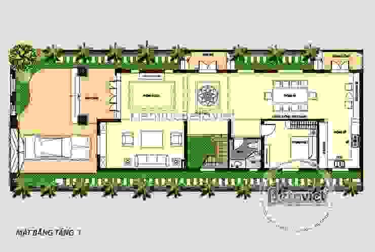 Mặt bằng tầng 1 biệt thự 4 tầng Tân cổ điển siêu lung linh (CĐT: Ông Thanh - Hà Nội) KT18074 bởi Công Ty CP Kiến Trúc và Xây Dựng Betaviet
