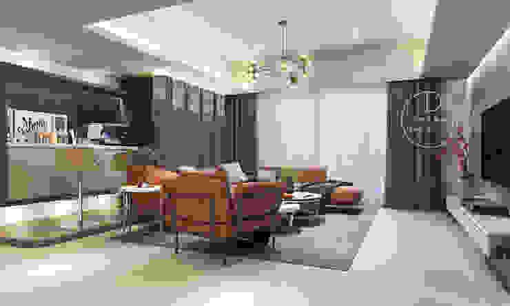 客廳/烤漆玻璃/奢華風 现代客厅設計點子、靈感 & 圖片 根據 木博士團隊/動念室內設計制作 現代風
